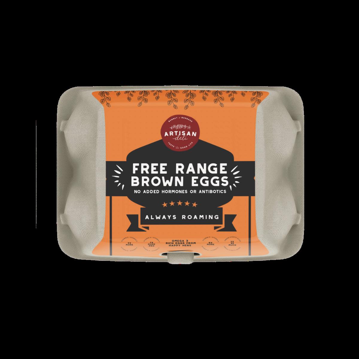 Free Range Brown Eggs by Artisan Deli – Pack of 6